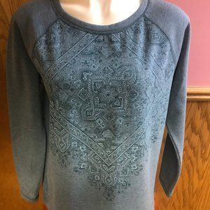 St John's Bay Blue Paisley Patterned Sweatshirt